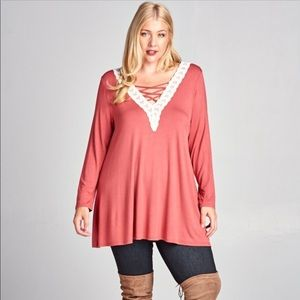 New Marsala jersey tunic contrast lace